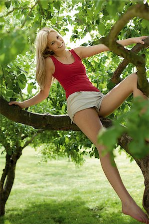 Blond young woman sitting in a tree Stock Photo - Rights-Managed, Code: 853-06441502