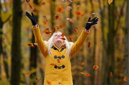 fall - Happy blond young woman in forest Stock Photo - Rights-Managed, Code: 853-06442244