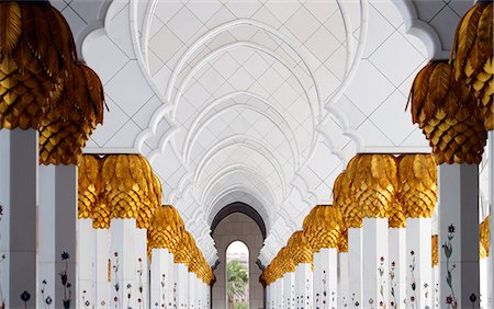 Colonnade at the atrium of the Sheikh Zayed Mosque, Abu Dhabi, United Arab Emirates Stock Photo - Rights-Managed, Code: 853-07026712
