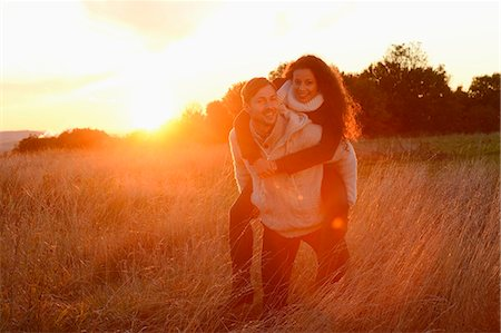 Smiling couple in field in autumn Stock Photo - Rights-Managed, Code: 853-07241955