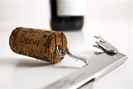 Close-up of cork and corkscrew Stock Photo - Rights-Managed, Code: 853-03227651