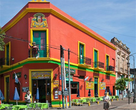 people in argentina - An old building, now a restaurant, at La Boca, which is famed for its brightly coloured building. Stock Photo - Rights-Managed, Code: 862-05996672