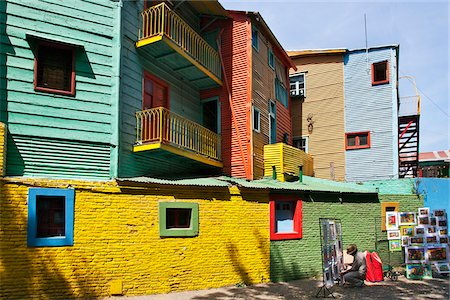 people in argentina - Brightly-coloured old wooden buildings at La Boca. Stock Photo - Rights-Managed, Code: 862-05996673