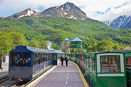people in argentina - The Southern Fuegian Railway (The end of the world train) is the southernmost railway in the world. Now used for tourism, it was originally built by prisoners from Ushuaia s penal colony. Stock Photo - Rights-Managed, Code: 862-05996728