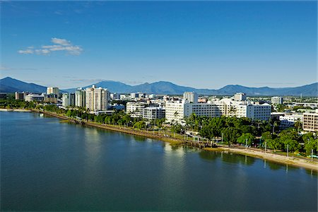 Australia, Queensland, Cairns.  Aerial view along Esplanade to city centre. Stock Photo - Rights-Managed, Code: 862-05996812