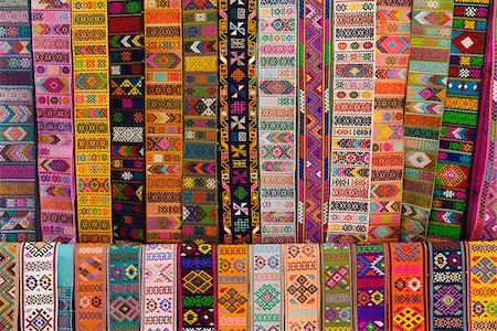 Bhutanese fabric belts hanging up in a shop in Thimphu. Stock Photo - Rights-Managed, Code: 862-05997052