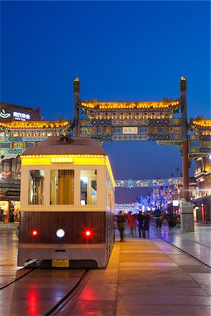 China, Beijing, Qianmen. A tram waits to depart on Qianmen market street. Stock Photo - Rights-Managed, Code: 862-05997255