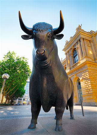 stock exchange building - Germany, Hessen, Frankfurt Am Main, Borse stock exchange, bull statue Stock Photo - Rights-Managed, Code: 862-05997772