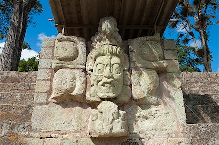 Central America, Honduras, Copan Ruins, Mayan archeological site, Copan Ruins, Unesco World Heritage site; carved face statue Stock Photo - Rights-Managed, Code: 862-05997857