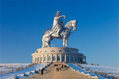 equestrian - Mongolia, Tov Province, Tsonjin Boldog. A 40m tall statue of Genghis Khan on horseback stands on top of The Genghis Khan Statue Complex and Museum. Stock Photo - Rights-Managed, Code: 862-05998617