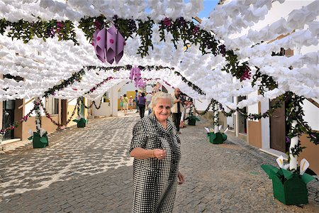 portugal - Streets decorated with paper flowers. People festivities (Festas do Povo). Campo Maior, Portugal Stock Photo - Rights-Managed, Code: 862-05998848