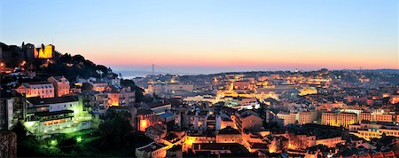 The historical center of Lisbon at twilight. Portugal Stock Photo - Rights-Managed, Code: 862-05998972