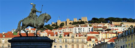 The historical centre and the Sao Jorge castle, with King Dom Joao I equestrian statue. Lisbon, Portugal Stock Photo - Rights-Managed, Code: 862-05998985