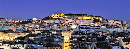 The historical centre and the Sao Jorge castle at dusk. Lisbon, Portugal Stock Photo - Rights-Managed, Code: 862-05998989