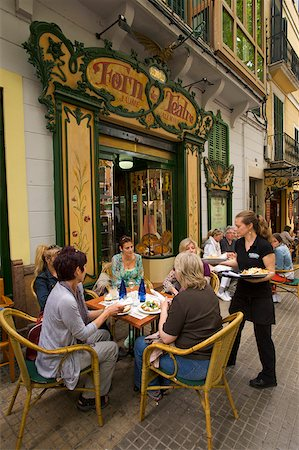 european bar building - Street Cafe Forn de Teatro' in the Old Town of Palma de Mallorca, Majorca, Balearic Islands, Spain Stock Photo - Rights-Managed, Code: 862-05999426