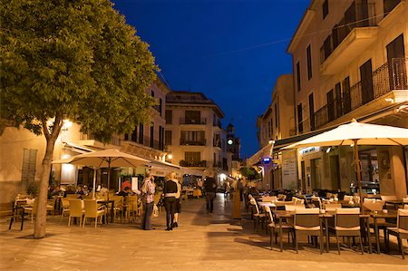 european bar building - Street cafe in the old Town of Alcudia, Majorca, Balearic Islands, Spain Stock Photo - Rights-Managed, Code: 862-05999464