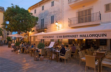 european cafe bar - Street Cafe in the Old Town of Alcudia, Majorca, Balearic Islands, Spain Stock Photo - Rights-Managed, Code: 862-05999474