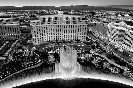 U.S.A., Nevada, Las Vegas, The Bellagio Hotel and Bellagio Fountain taken from Paris. Stock Photo - Rights-Managed, Code: 862-05999680
