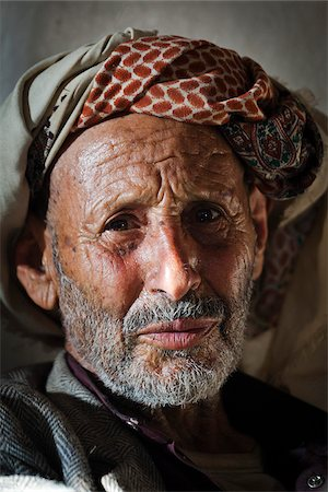 Yemen, Sana'a Province, Haraz Mountains, Al Hajjarah. Portrait of an old man. Stock Photo - Rights-Managed, Code: 862-05999730
