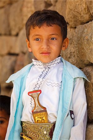 Yemen, Sana'a Province, Haraz Mountains, Jebel Shugruf. A young boy in traditional clothing. Stock Photo - Rights-Managed, Code: 862-05999732