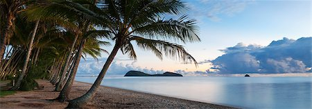 queensland - Australia, Queensland, Cairns.  Palm Cove beach at dawn with Double Island in background. Stock Photo - Rights-Managed, Code: 862-06540762