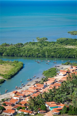South America, Brazil, Ceara, Aerial of Aranau fishing village near Acarau between Fortaleza and Jericoacoara on the Ceara coast Stock Photo - Rights-Managed, Code: 862-06541004