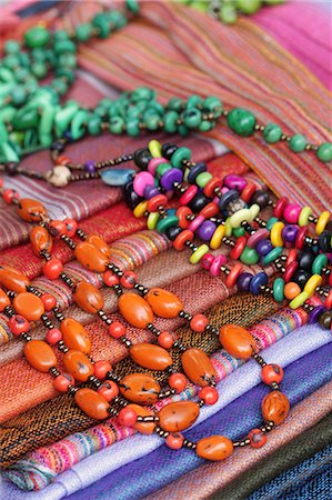 Beads and blankets for sale at Otavalo Market, Ecuador Stock Photo - Rights-Managed, Code: 862-06541261