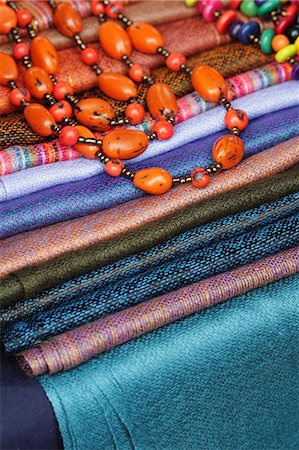 Beads and blankets for sale at Otavalo Market, Ecuador Stock Photo - Rights-Managed, Code: 862-06541262