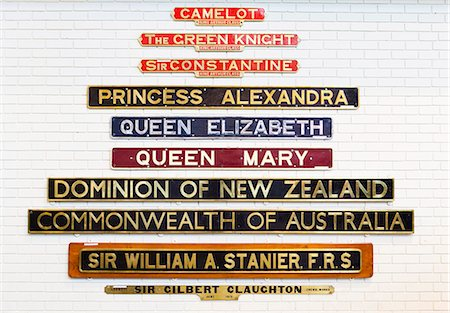 United Kingdom, England, North Yorkshire, York. Nameplates at the National Railway Museum. Stock Photo - Rights-Managed, Code: 862-06541315