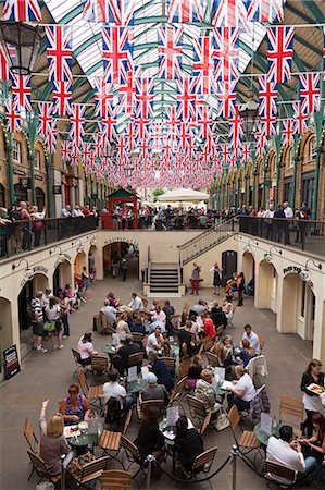 England, London, Covent Garden.  The covered market decorated with Union Jack flags, celebrating HM The Queens Diamond Jubilee. Stock Photo - Rights-Managed, Code: 862-06541396