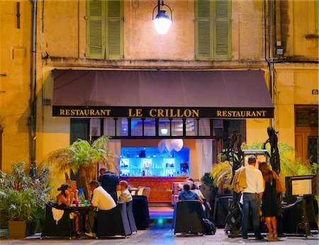 french (places and things) - France, Provence, Avignon, Cafe at dusk Stock Photo - Rights-Managed, Code: 862-06541517