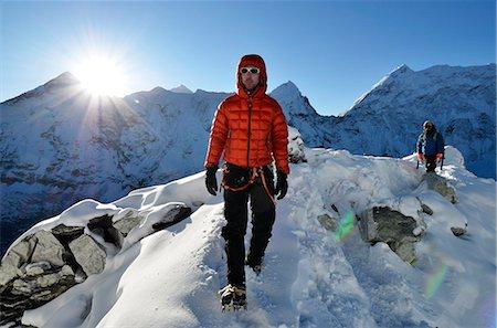 Asia, Nepal, Himalayas, Sagarmatha National Park, Solu Khumbu Everest Region, Mt Everest, 8850m, a climber on Island Peak. MR Stock Photo - Rights-Managed, Code: 862-06542403