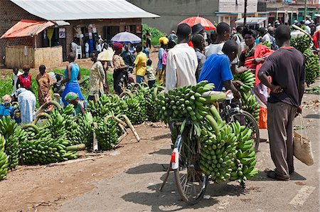 A roadside market with large quantities of green bananas, matoke, for sale, Uganda, Africa Stock Photo - Rights-Managed, Code: 862-06543210