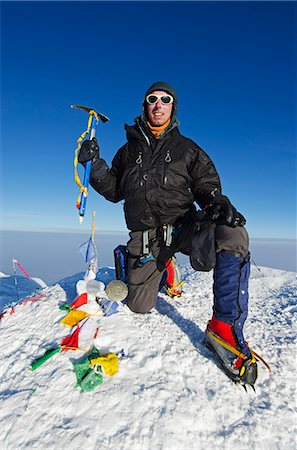 USA, United States of America, Alaska, Denali National Park, summit, climber on Mt McKinley 6194m, highest mountain in north America , MR, Stock Photo - Rights-Managed, Code: 862-06543351
