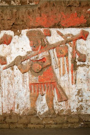 South America, Peru, La Libertad, Trujillo, detail of a mural on the Moche Temple of the Moon showing a moche priest or warrior with a mace or spear Stock Photo - Rights-Managed, Code: 862-06677316