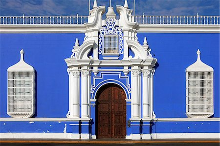 peru and culture - South America, Peru, La Libertad, Trujillo, traditional iron lattice colonial windows and a baroque doorway, on the main square with the municipal cathedral in the background Stock Photo - Rights-Managed, Code: 862-06677318