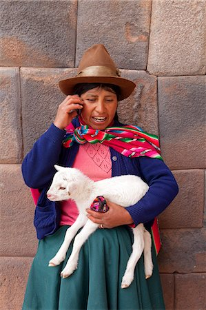 south american woman - South America, Peru, Cusco. A Quechua woman standing in front of an Inca wall, holding a lamb and wearing a bowler hat and a liclla    while talking on a cell phone in the UNESCO World Heritage listed former Inca capital of Cusc Stock Photo - Rights-Managed, Code: 862-06677432