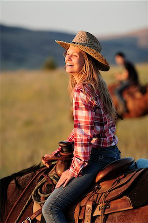 Tourist girl from Switzerland at Wilson Ranch, Guest Ranch and B&B, Fossil, Oregon, USA Stock Photo - Rights-Managed, Code: 862-06677558