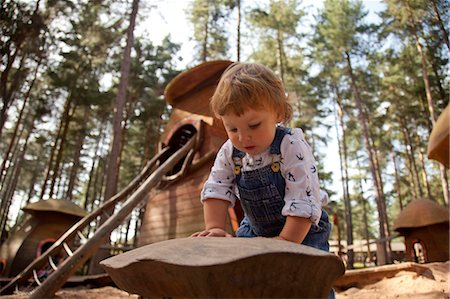 Nottinghamshire, UK. Young child playing at Sherwood Pines forest park. (MR) Stock Photo - Rights-Managed, Code: 862-06825336