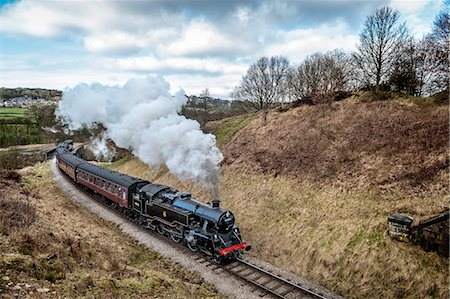 steam engine - Europe, England, West Yorkshire, Steam Train, Stock Photo - Rights-Managed, Code: 862-06825390