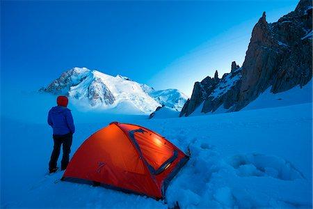 Europe, France, Haute Savoie, Rhone Alps, Chamonix Valley, camping beneath Mont Blanc (4810m); (MR) Stock Photo - Rights-Managed, Code: 862-06825447