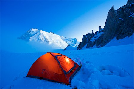Europe, France, Haute Savoie, Rhone Alps, Chamonix Valley, camping beneath Mont Blanc (4810m) Stock Photo - Rights-Managed, Code: 862-06825448