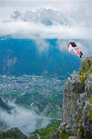 extremism - Europe, France, Haute Savoie, Rhone Alps, Chamonix Valley, base jumper at Brevant Stock Photo - Rights-Managed, Code: 862-06825466