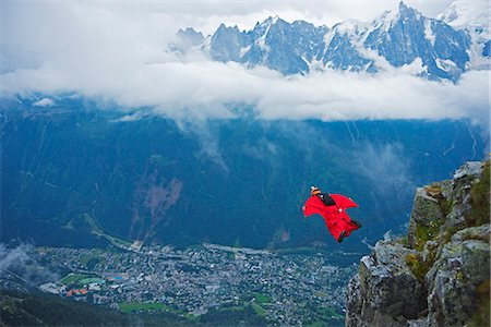extremism - Europe, France, Haute Savoie, Rhone Alps, Chamonix Valley, base jumper at Brevant Stock Photo - Rights-Managed, Code: 862-06825468