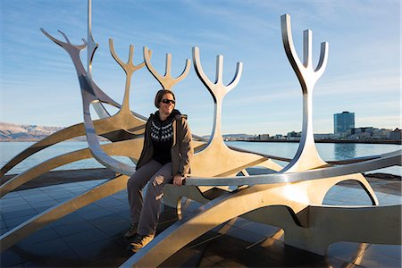 Iceland, Reykjavik, Solfar (Sun Voyager), iconic stainless-steel modern sculpture representing a Viking longboat by Jon Gunnar Arnason (MR) Stock Photo - Rights-Managed, Code: 862-06825712