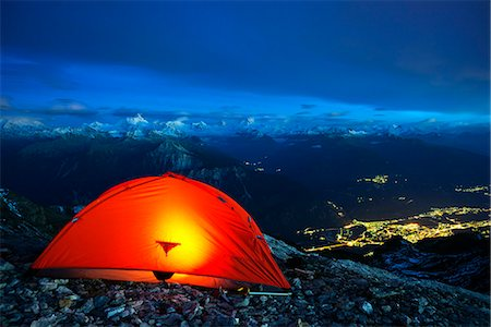 Europe, Swiss Alps, Switzerland, Bernese Oberland, Trubelstock (2998m), illuminated tent above Sion Stock Photo - Rights-Managed, Code: 862-06826281