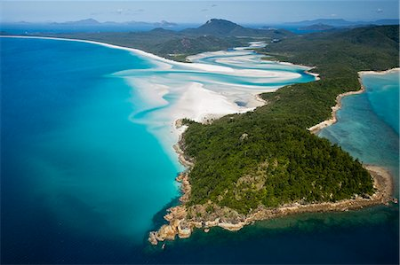 queensland - Australia, Queensland, Whitsundays, Whitsunday Island.  Aerial view of Tongue Point, Hill Inlet and Whitehaven Beach in Whitsunday Islands National Park. Stock Photo - Rights-Managed, Code: 862-07495767