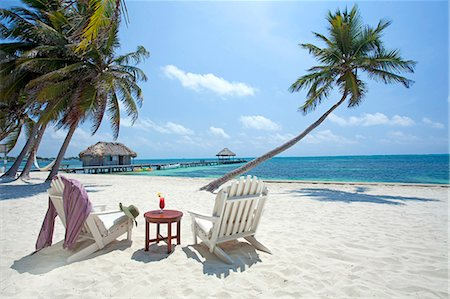 Central America, Belize, Ambergris Caye, San Pedro, sun lounger chairs anda cocktail on the beach with coconut palms and the Caribbean sea in southern San Pedro Stock Photo - Rights-Managed, Code: 862-07495804