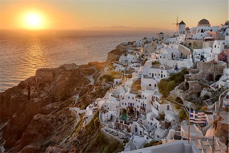 santorini island - Sunset in Oia,Santorini, Kyclades,South Aegean, Greece,Europe Stock Photo - Rights-Managed, Code: 862-07495916