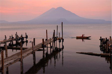 Lago de Atitlan at Panajachel with Volcan Toliman in the background, Guatemala, Central America Stock Photo - Rights-Managed, Code: 862-07495921